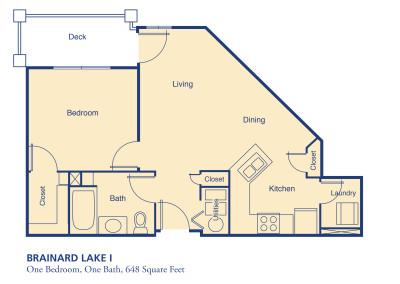 Brainard Lake I one bedroom floor plan senior independent community