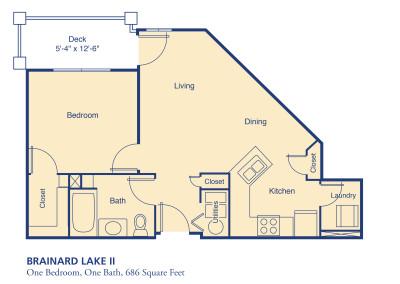 Brainard Lake II one bedroom floor plan senior independent community