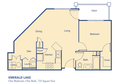 Emerald Lake  one bedroom floor plan senior independent community