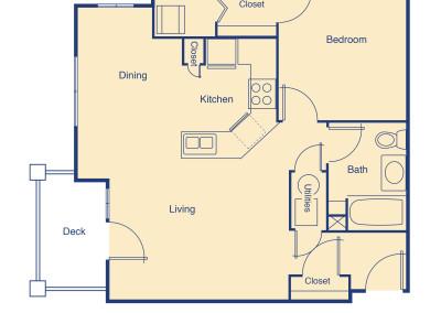 Gem Lake one bedroom floor plan senior independent community