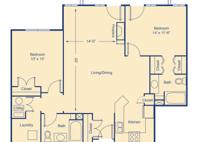 Twin Lakes two bedroom patio home senior rental housing Denver