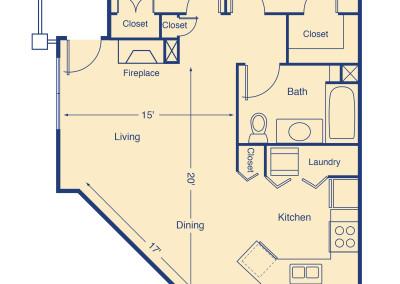 Sloans Lake I two bedroom patio home senior rental housing Denver