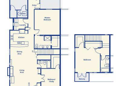 The Ponderosa three bedroom three bath 2-story 2017 square feet senior rental independent living Denver